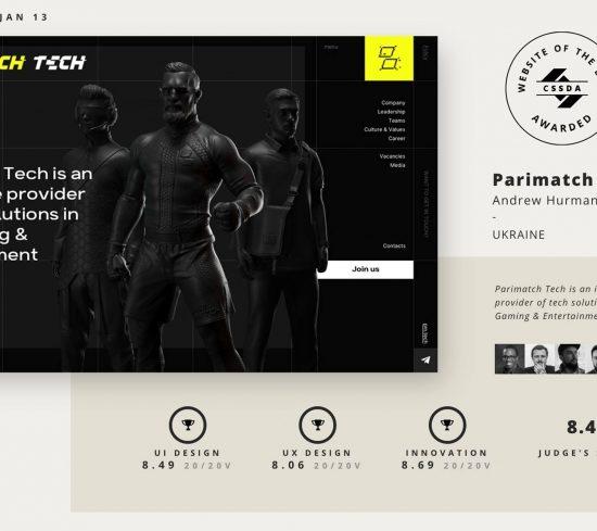 Украинское агентство Areal.design получило премию CSS design awards за создание сайта для Parimatch Tech